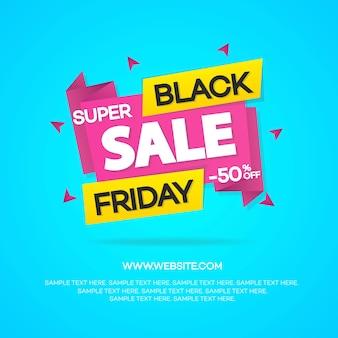 Bannières de vente vendredi noir pour votre promotion isolée sur fond bleu. super vente et remise.