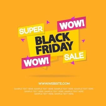 Bannières de vente vendredi noir pour votre promotion isolée sur fond orange. super vente et remise.
