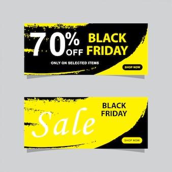 Bannières de vente vendredi noir sertie de grunge