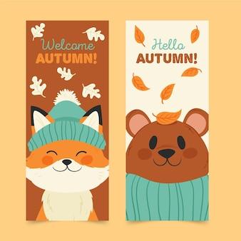 Bannières de vente verticale automne dessinés à la main
