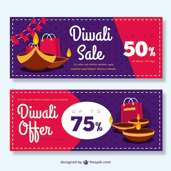 Bannières ventes festival de diwali