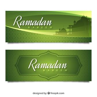 Bannières vertes de ramadan kareem
