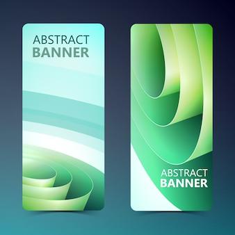 Bannières verticales abstraites avec bobine de papier roulé d'emballage vert dans un style léger isolé