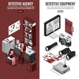 Bannières verticales des agences de détectives