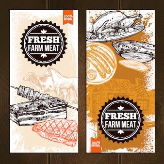 Bannières verticales d'aliments de viande dessinés à la main
