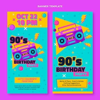 Bannières verticales d'anniversaire des années 90 dessinées à la main