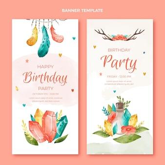 Bannières verticales d'anniversaire boho aquarelle