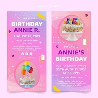 Bannières verticales d'anniversaire colorées dégradées