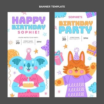 Bannières verticales d'anniversaire dessinées à la main