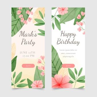 Bannières verticales d'anniversaire floral aquarelle
