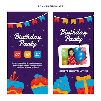 Bannières verticales d'anniversaire minimal design plat