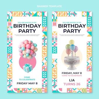 Bannières verticales d'anniversaire en mosaïque plate