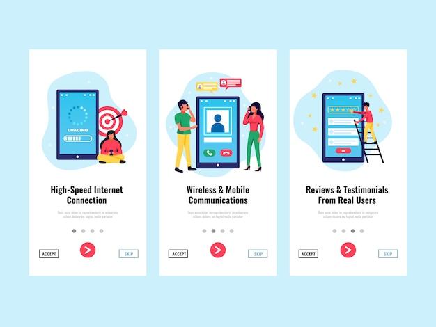 Bannières verticales d'application mobile sertie de symboles de connexion internet illustration isolé plat