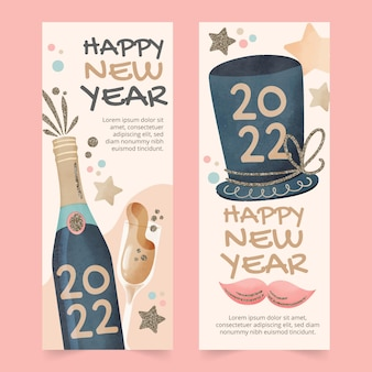 Bannières verticales aquarelle nouvel an sertie de champagne