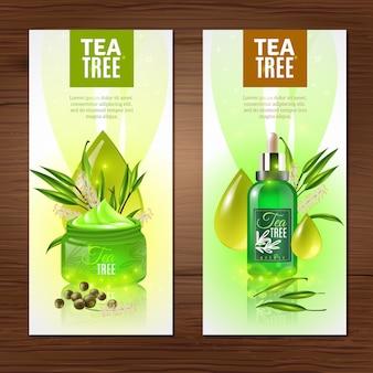 Bannières verticales d'arbre à thé
