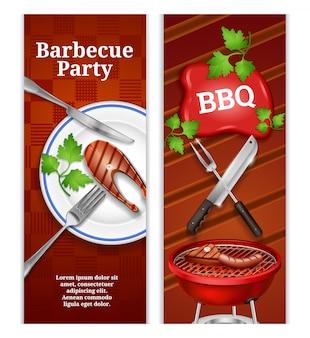Bannières verticales bbq avec steak juteux sur une assiette et produits à base de viande grillée sur un barbecue