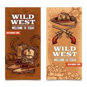 Bannières verticales cawboy wild west