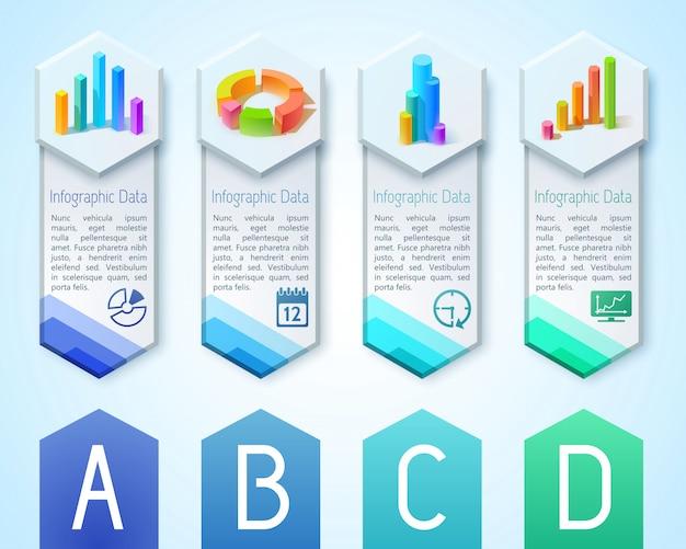 Bannières verticales commerciales avec texte 3d diagrammes graphiques graphiques sur hexagones et icônes illustration