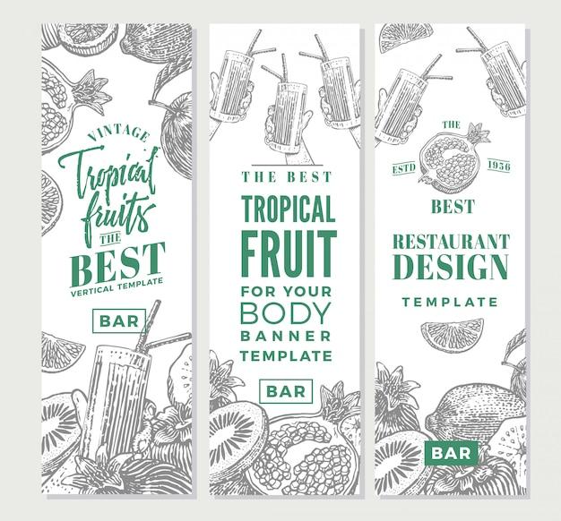 Bannières verticales de croquis de fruits tropicaux