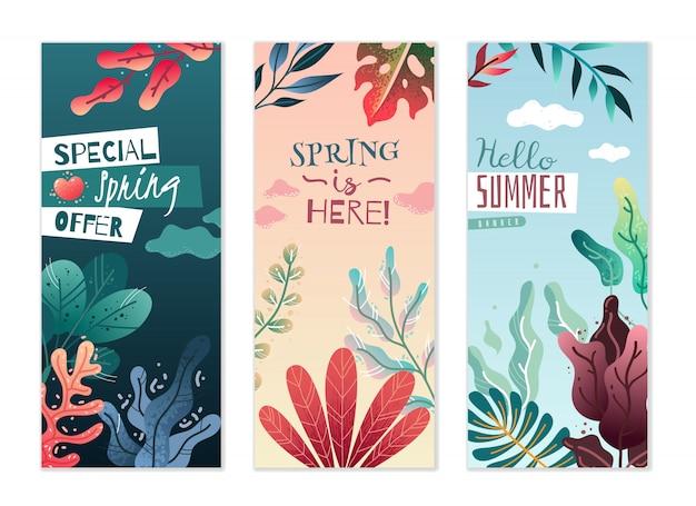 Bannières verticales décoratives printemps été. couleurs agréables et dégradés délicats.