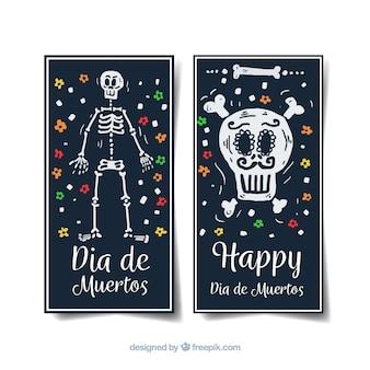Bannières verticales día de muertos