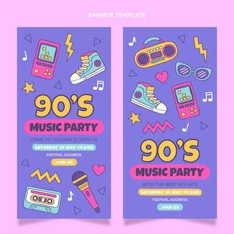 Bannières verticales du festival de musique nostalgique des années 90 dessinées à la main