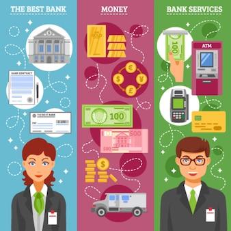 Bannières verticales des employés de banque