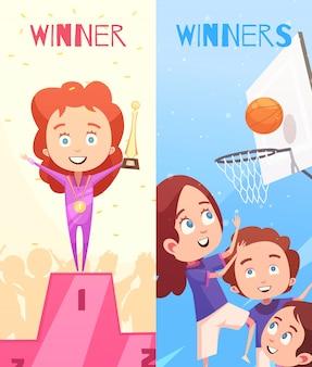 Bannières verticales enfants sport