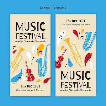 Bannières verticales de festival de musique colorées dessinées à la main
