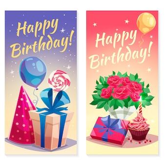 Bannières verticales de fête d'anniversaire