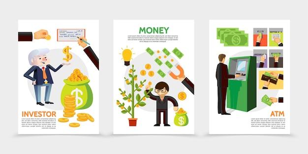 Bannières verticales de finance et d'investissement plat avec homme d'affaires près de atm chèque financier aimant pièces d'argent arbre espèces icônes illustration