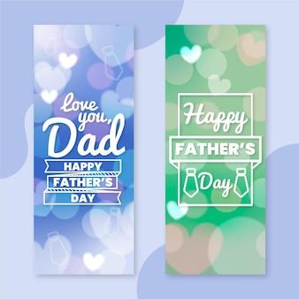 Bannières verticales floues pour la fête des pères