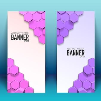 Bannières verticales géométriques abstraites avec hexagones lumineux