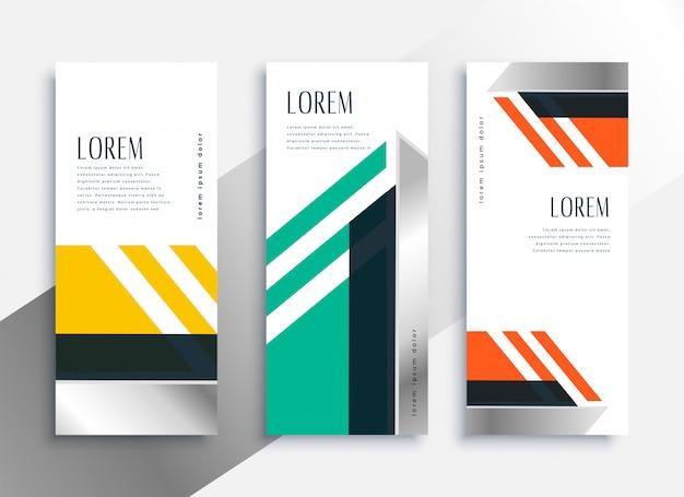 Bannières verticales géométriques dans un style moderne