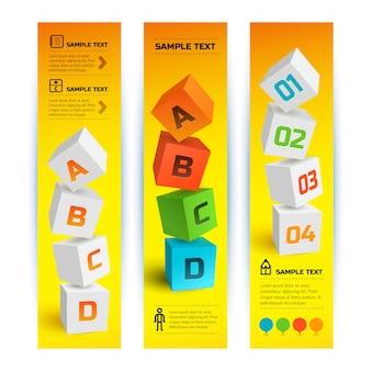 Bannières verticales géométriques infographiques avec des carrés 3d