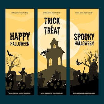 Bannières verticales halloween design plat