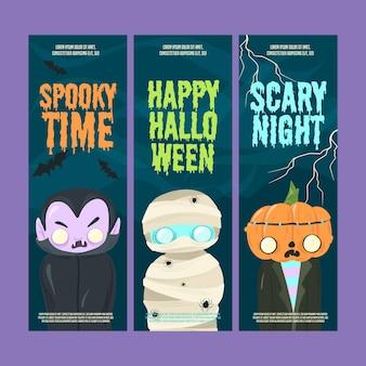 Bannières verticales d'halloween design plat