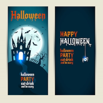 Bannières verticales de halloween placées sur fond bleu et sombre.