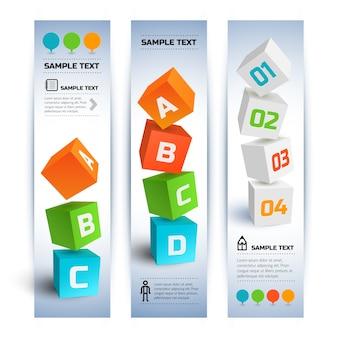 Bannières verticales infographiques commerciales géométriques avec des cubes 3d colorés