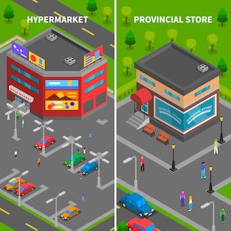 Bannières verticales isométriques de bâtiments de magasin