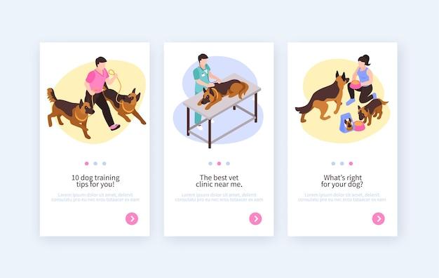 Bannières verticales isométriques de chien d'un jour avec illustration de boutons de page de commutation