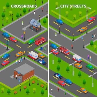 Bannières verticales isométriques du trafic routier