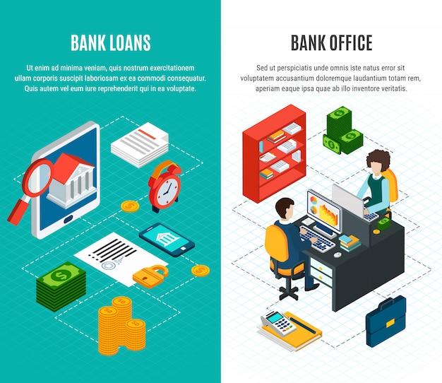 Bannières verticales isométriques de prêts avec deux compositions de personnages financiers et humains avec texte