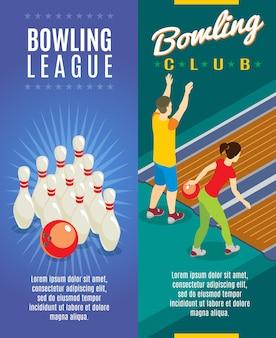 Bannières verticales de jeu de bowling isométrique