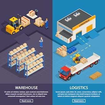 Bannières verticales de logistique et d'entrepôt