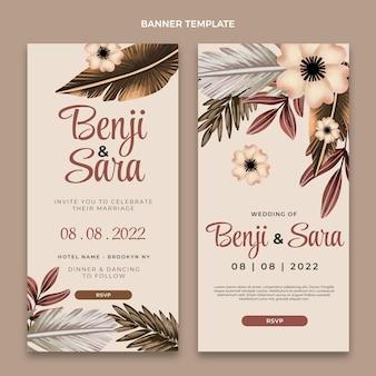 Bannières verticales de mariage boho aquarelle
