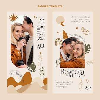 Bannières verticales de mariage dessinés à la main