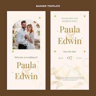 Bannières verticales de mariage doré de luxe réaliste
