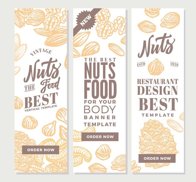 Bannières verticales de nourriture de noix vintage