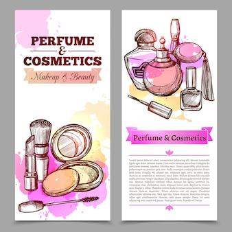 Bannières verticales de parfum et de cosmétiques
